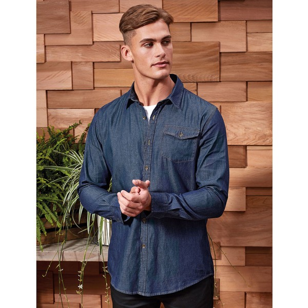 Premier Mens Jeans Stitch Långärmad jeansskjorta M Indigo Denim