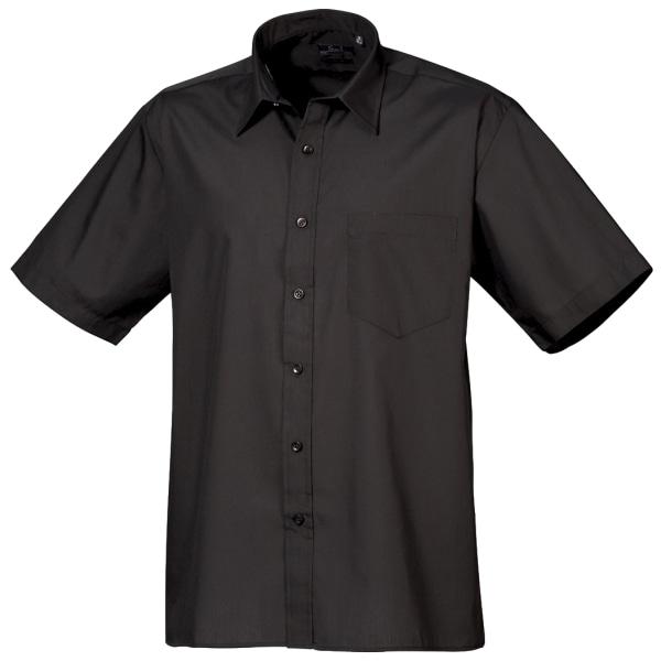 Premier Mens Kortärmad Formell Poplin Plain Work Shirt 17 Svart Black 17
