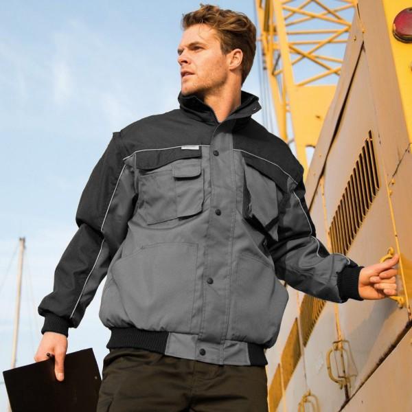 Resultat Mens Workguard Zip Sleeve Heavy Duty Water Repellent Wind Grey/Black L