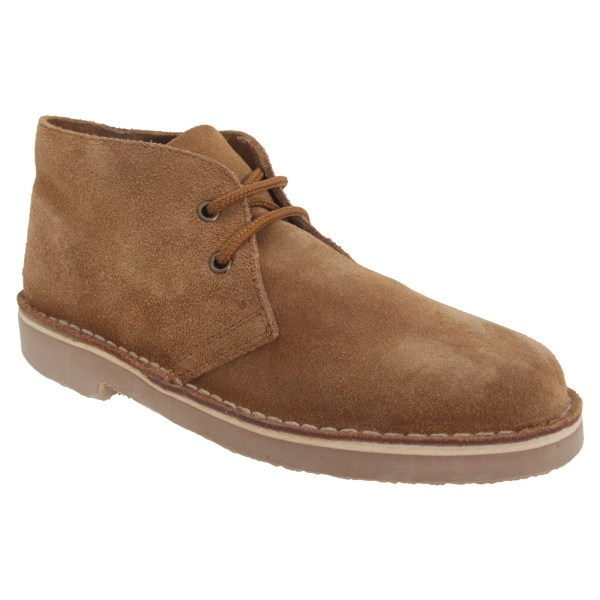 Roamers Mens Real Suede Unlined Desert Boots 6 UK Sand Sand 6 UK