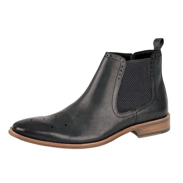 Roamers Mens Leather Ankle Boots 11 UK Black Black 11 UK