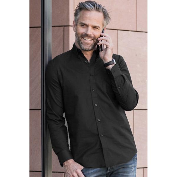 Russell Collection Mens långärmad, lättskött Oxfordskjorta 19inc Black 19inch