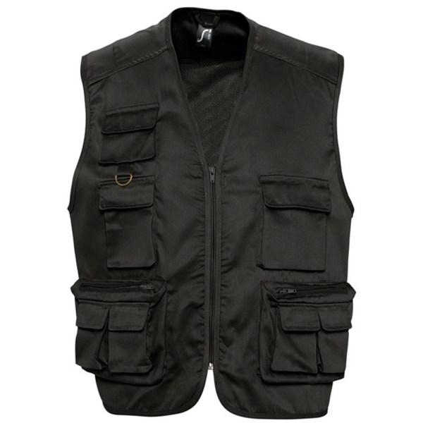 SOLS Wild Unisex Full Zip Waistcoat Bodywarmer Jacket XL Svart