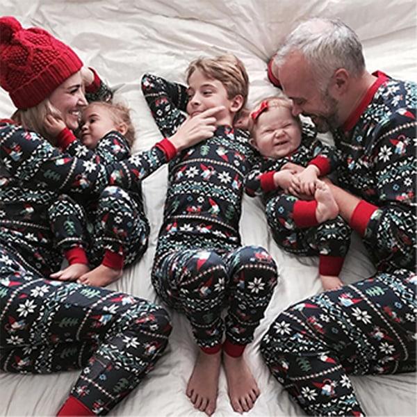 Familj matchande set julpyjamas julnattkläder Men L
