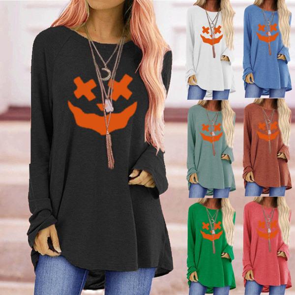Långärmad tröja med rund hals för kvinnor med Halloween -tryck bule 2XL