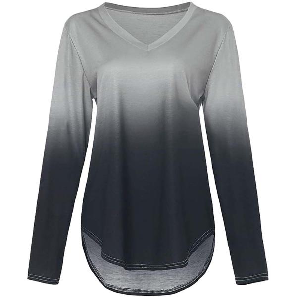 Kvinnor Gradient Tryckt Oregelbunden Hem V-ringad långärmad T-shirt black M