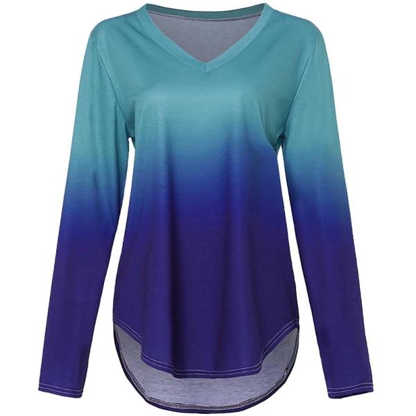 Kvinnor Gradient Tryckt Oregelbunden Hem V-ringad långärmad T-shirt bule purple S