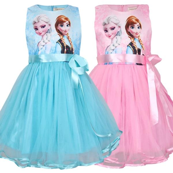 Girls Frozen Princess Elsa Anna Party Dress Cos Party Clothes bule 100cm