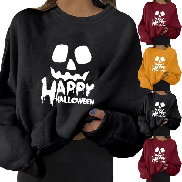 Casual kvinnor Halloween HAPPY White Letters Print Sweatshirt Tee wine red 3XL