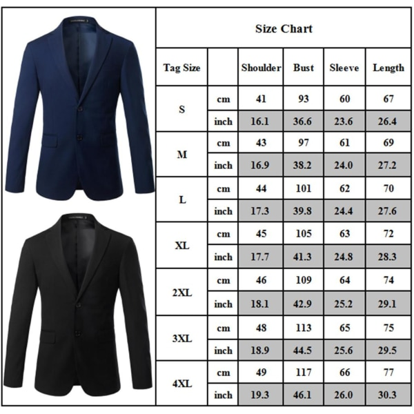 Herrrock Fritid Knapp-Front Stand-Collar Blazer Formell kostym Black 2XL