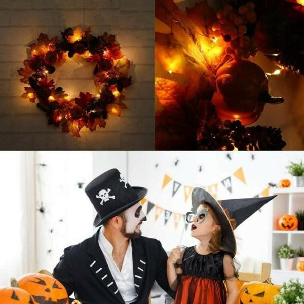Halloween Pumpkin Pine Cone Maple Leaf LED färgrik krans B