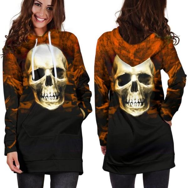 Halloween-kvinnas skalle-gradient huva långärmad tröja orange L