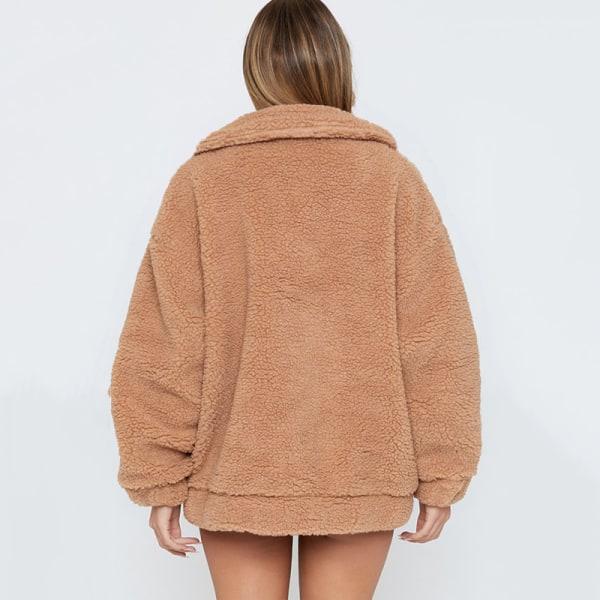 Kvinnor Faux Fur Coat Jacka Långa ärmar Casual Overcoat Outwear Light Camel S
