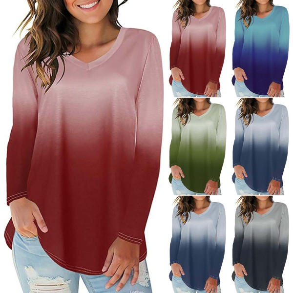 Kvinnor Gradient Tryckt Oregelbunden Hem V-ringad långärmad T-shirt wine red 2XL