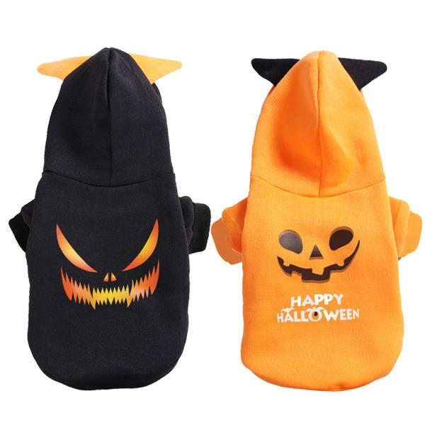 Halloween hoody dog cat hoodie pet pumpkin outfit costume cloth yellow S