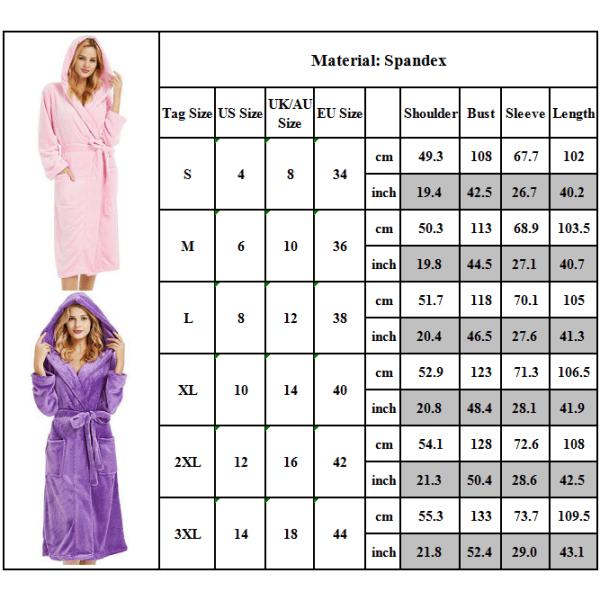 Kvinnor Badrock Huva Sauna Robe Morgonrock Fluffy Belt Coat purple XL