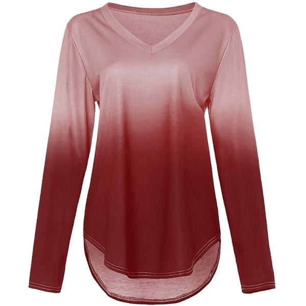 Kvinnor Gradient Tryckt Oregelbunden Hem V-ringad långärmad T-shirt wine red M