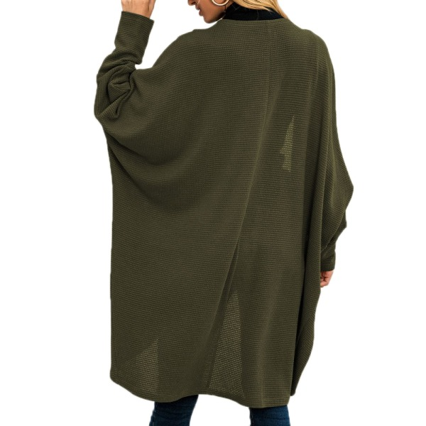 Damkläder Batwing Sleeve Coat Knit SweateCardigan Jacket Toppar army green L