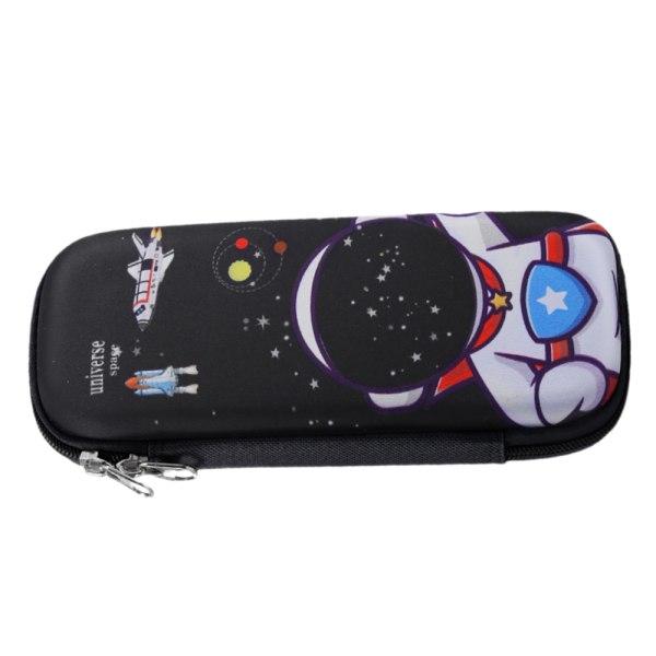 Barn blixtlås söt pennfodral stor kapacitet och multifunktion Astronaut black