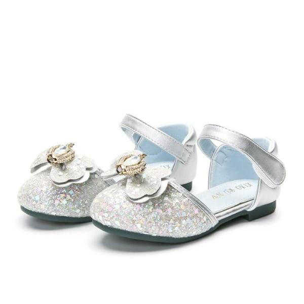 Flicka Party Bröllop Boll Prinsessa Platta Skor Sommar Casual Sandal silver 29