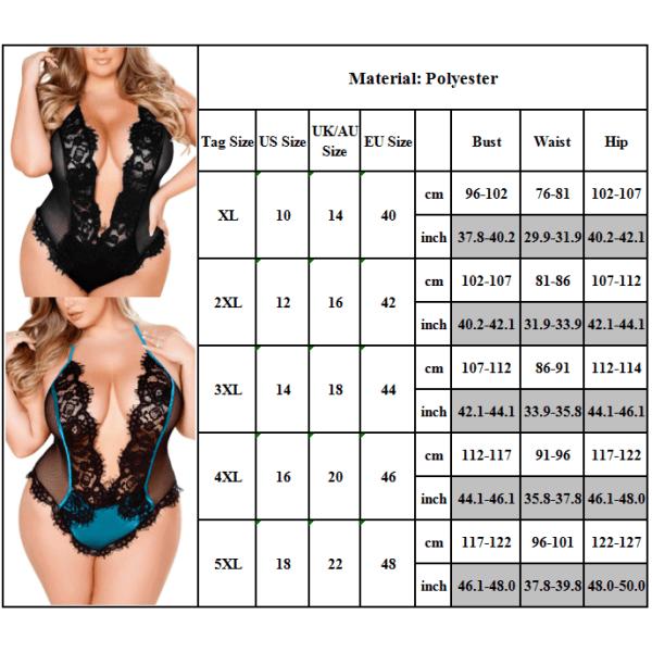 Kvinnors sexiga spetsunderkläder Bodysuit Babydoll Sleepwear Plus Size bule 5XL