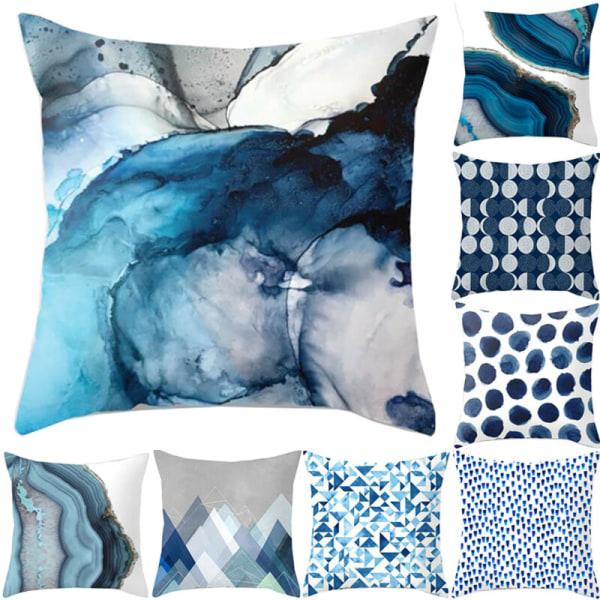 Blå geometriskt fyrkantigt kuddfodral - hemrumsdekoration - Bl 6