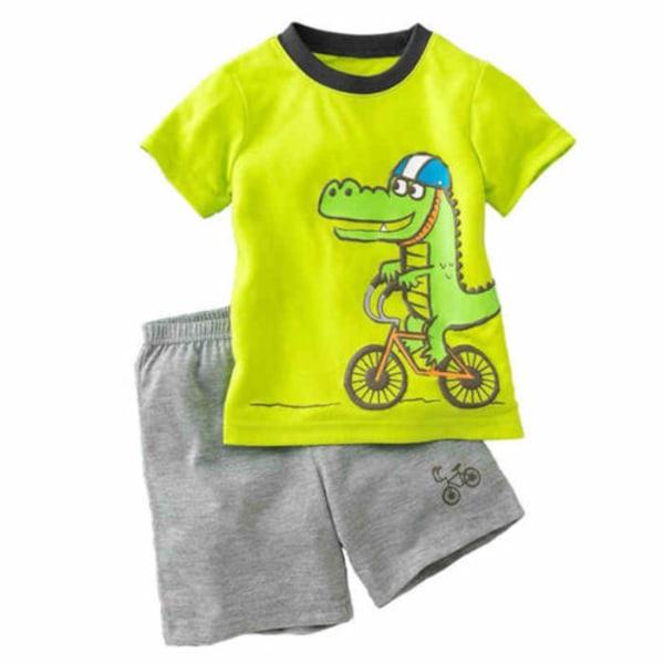 Pojkar kortärmad t-shirt topp + shorts cykling dinosaurie set 120cm