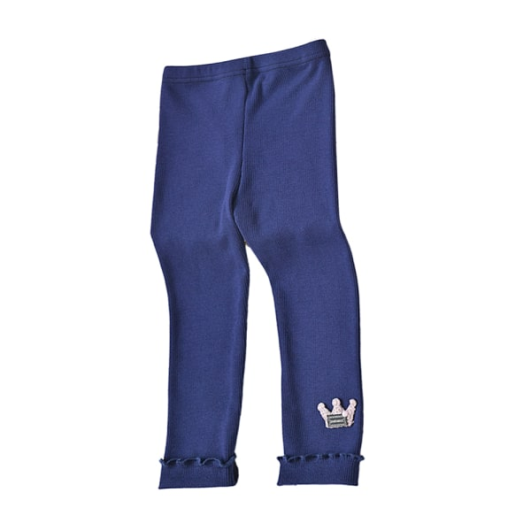 Barnflickor avslappnad krona trycker bekväma långa leggings navy 120cm