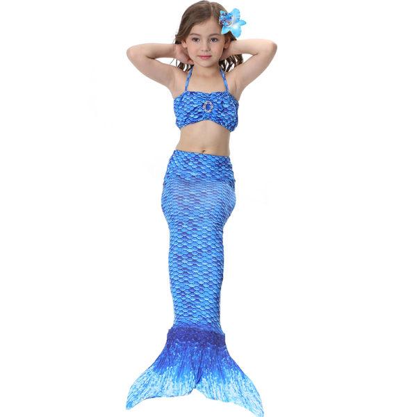 Barnflickor badkläder - tryckt sjöjungfru bikini kostym badkläder Navy blue 140cm