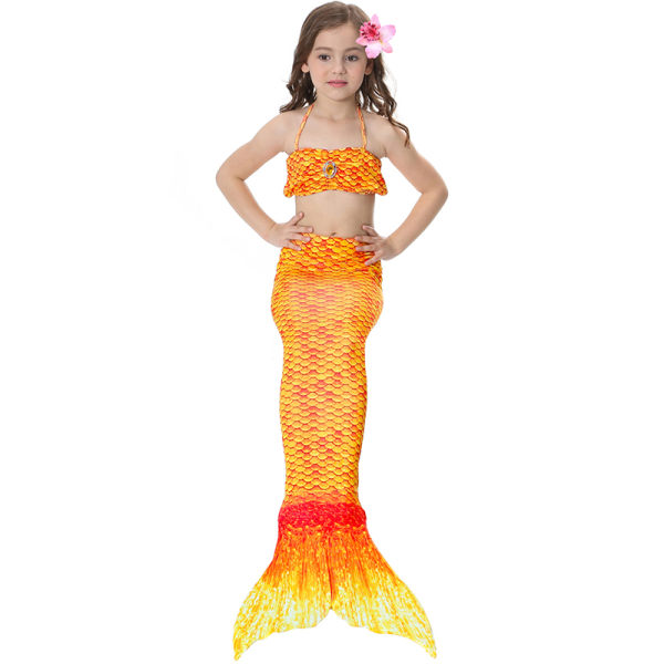 Barnflickor badkläder - tryckt sjöjungfru bikini kostym badkläder yellow 120cm