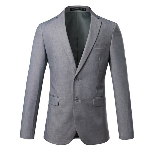 Herrrock Fritid Knapp-Front Stand-Collar Blazer Formell kostym Gray 4XL