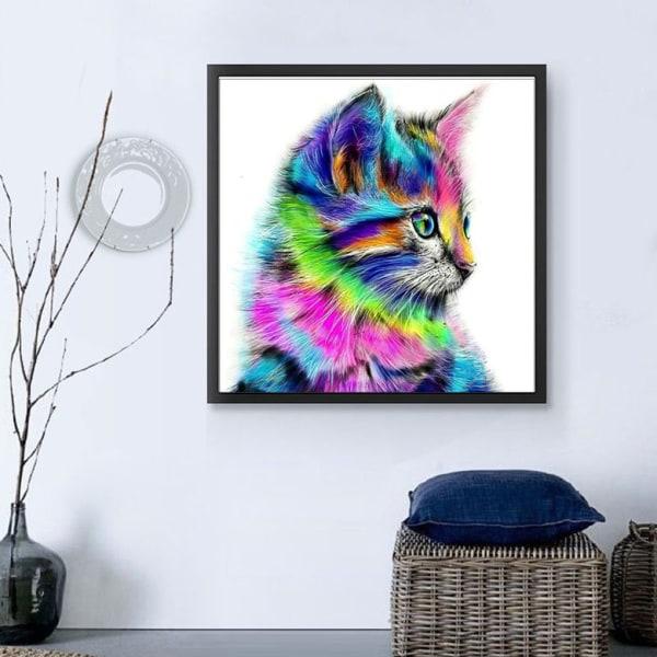 Diamantmålning _ DIY tecknad djur korsstygn färg katt _ 30*30cm
