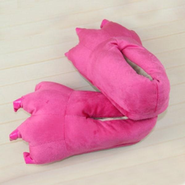 skor - Dinosaur Claw Monster Tofflor Soft Plush Feet Shoes - sk Rose Red L(Men)