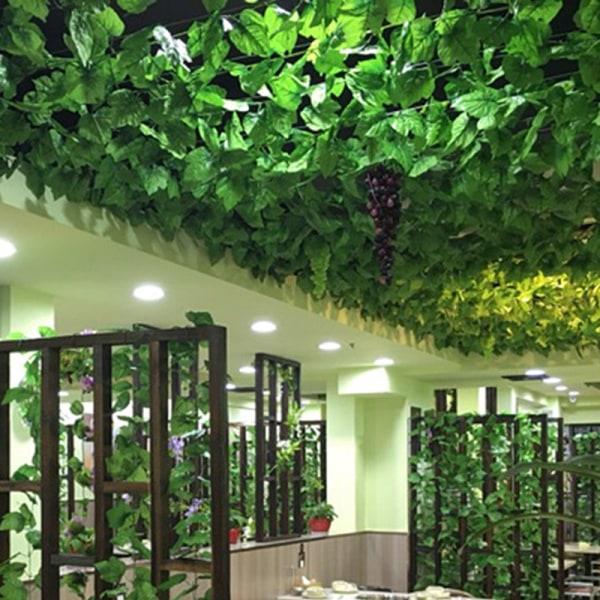 12PCS Vägghängd konstgjord grön blad krans växt heminredning green