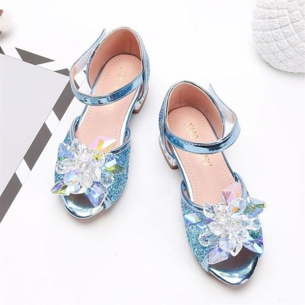 Flickor sommar prinsessan sandaler paljetter kristallblomma höga klackar Blue 27