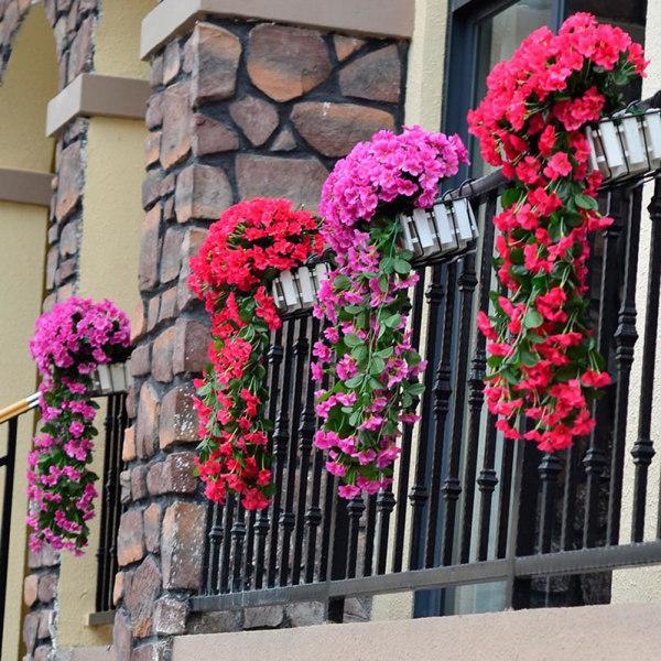 Konstgjord växt - väggmonterad konstgjord violett blommarotting rose red