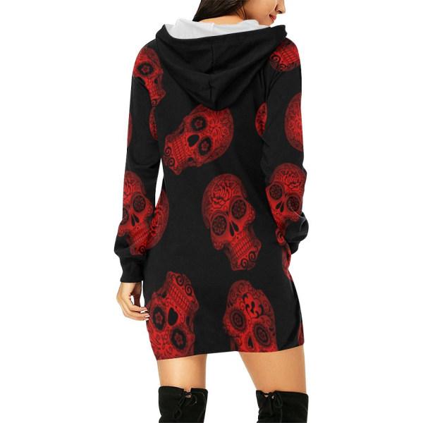 Halloween-kvinnors lilla skalle-tröja med huva och tryck red 2XL