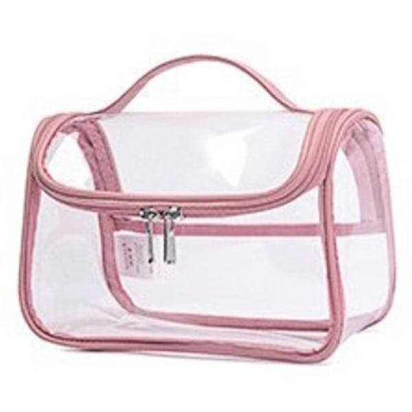 Kvinnor Resor PVC Väska Genomskinlig blixtlås Makeup Väskor Handväska pink