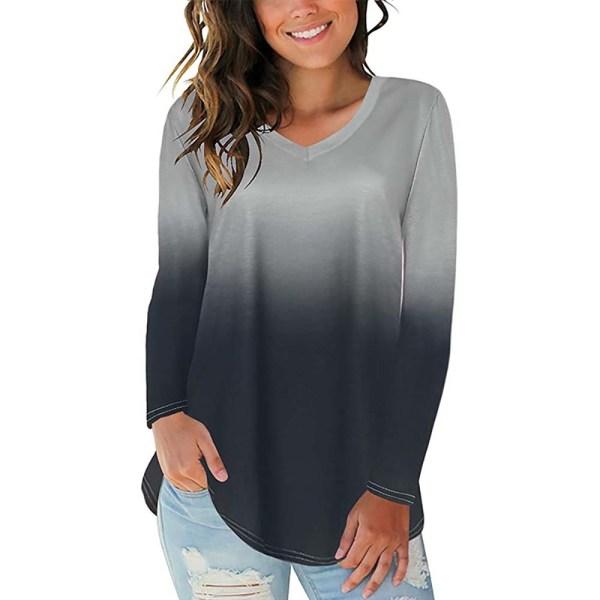 Kvinnor Gradient Tryckt Oregelbunden Hem V-ringad långärmad T-shirt black S