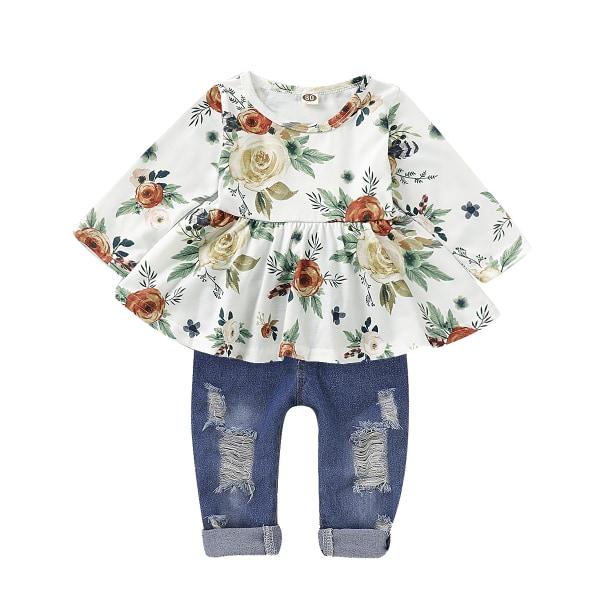 Flicka höst långärmad växt tryck denim kostym tvådelad kostym Floral Print 12-18 Months