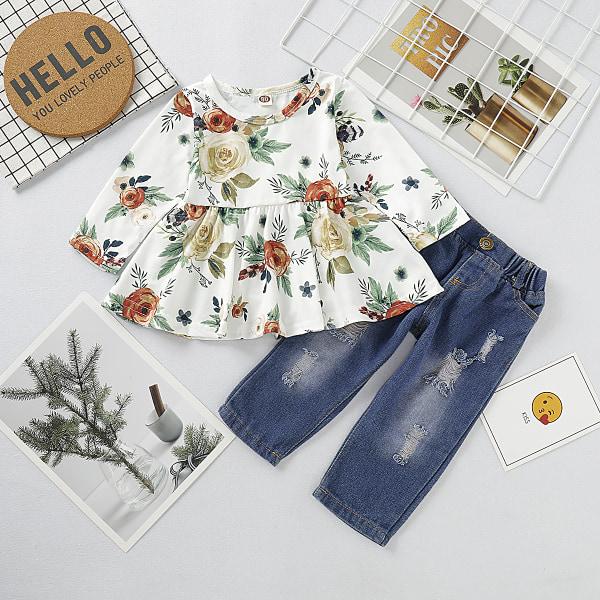 Flicka höst långärmad växt tryck denim kostym tvådelad kostym Floral Print 3-6 Months