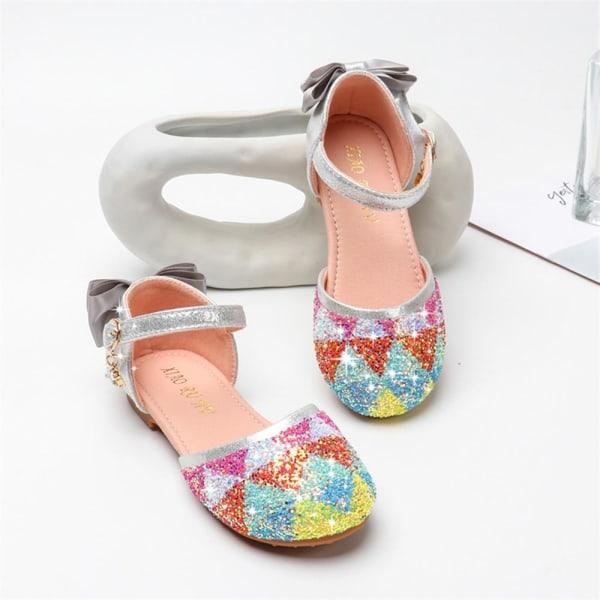 Flicka sommar paljetterade platta sandaler mjuka sulor prinsessa sandaler Sliver 34