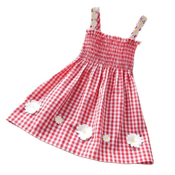 Flicka sommar västerländsk prinsessa liten daisy rutig kjol red 90cm