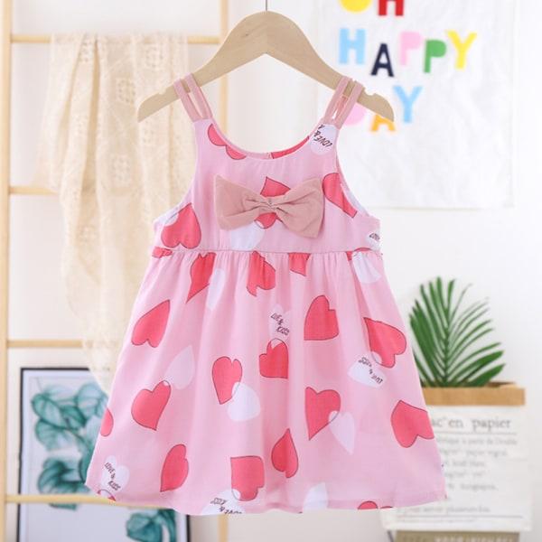Flicka sommar västlig stil avslappnad prinsessan rosett axelbandsklänning Pink love 110cm