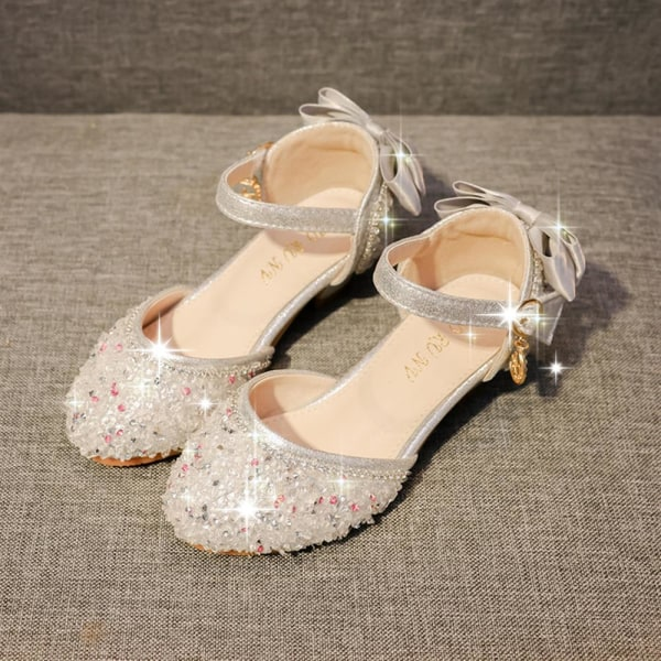 Flickor Crystal Princess Soft Sole Dance Performance High Heels Sliver 30