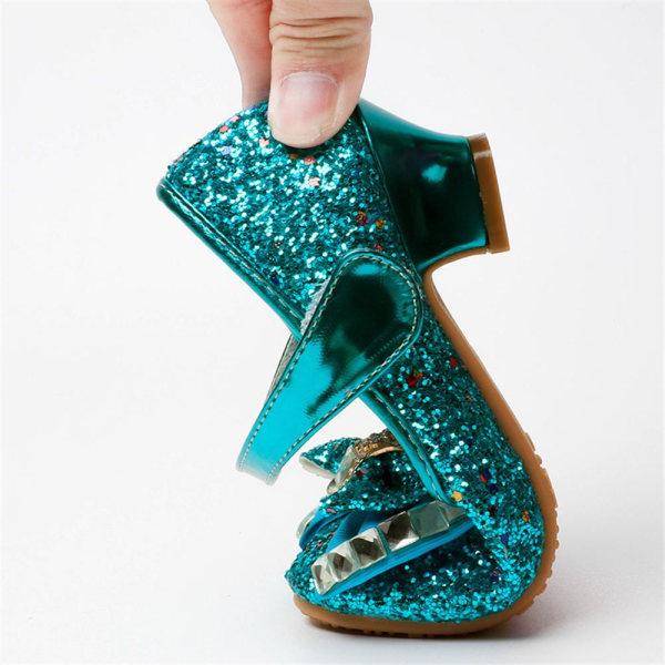 Flickor frysta tecknade skor högklackade prinsessan klänningskor Blue 26