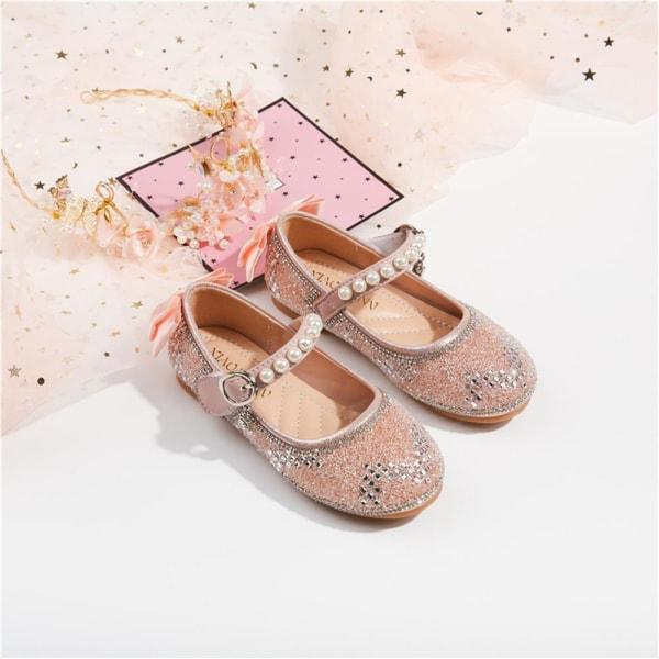 Flickor höst paljetterade prinsessskor enkel kristall skor Pink 30
