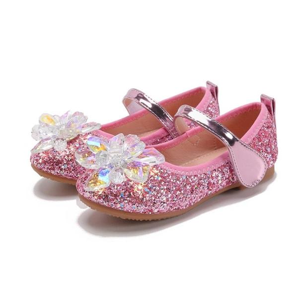 Flickor kristallglas blomma enkla skor paljetterade prinsessskor Pink 26