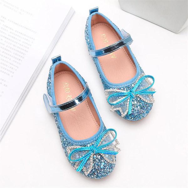 Flickor paljett kristall skor platt glänsande rosett bankett prinsessan skor Blue 24