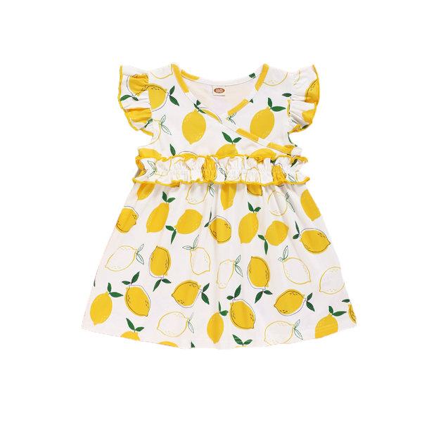 Flickor sommar mode söt citron tryck flygande ärm klänning Yellow 9-12 M